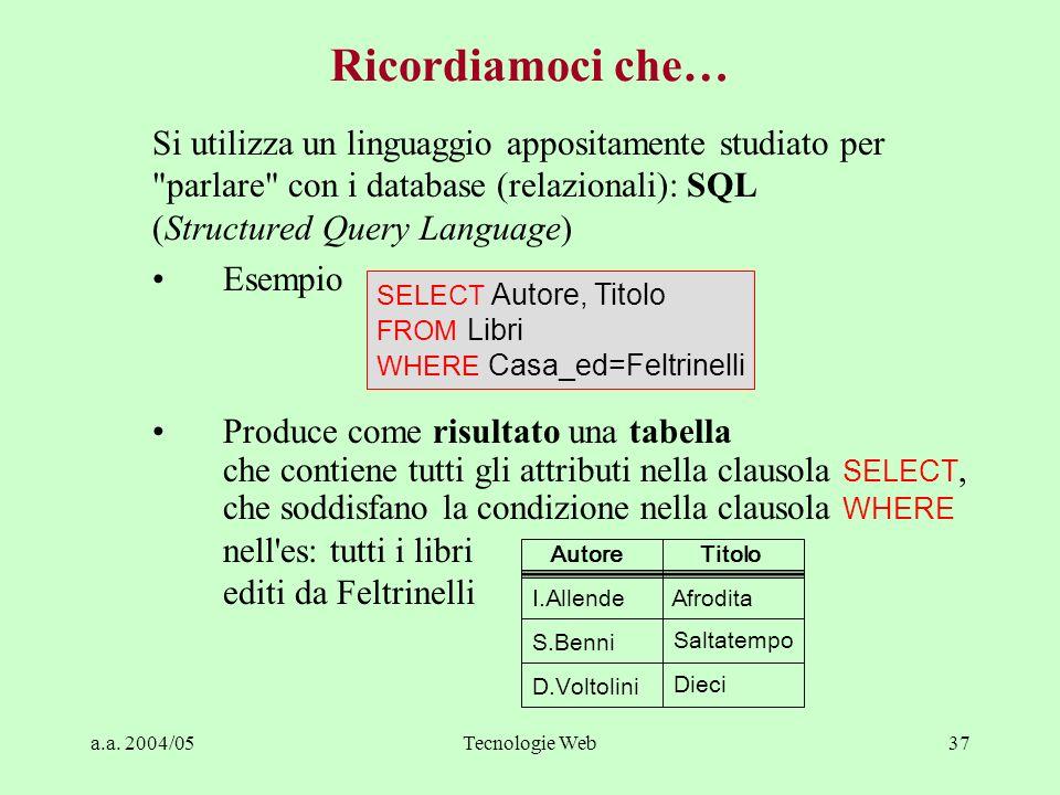 a.a. 2004/05Tecnologie Web37 Si utilizza un linguaggio appositamente studiato per