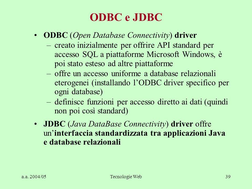 a.a. 2004/05Tecnologie Web39 ODBC e JDBC ODBC (Open Database Connectivity) driver –creato inizialmente per offrire API standard per accesso SQL a piat
