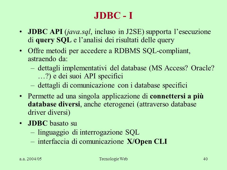 a.a. 2004/05Tecnologie Web40 JDBC - I JDBC API (java.sql, incluso in J2SE) supporta lesecuzione di query SQL e lanalisi dei risultati delle query Offr