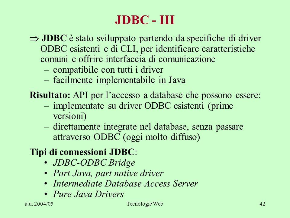 a.a. 2004/05Tecnologie Web42 JDBC - III JDBC è stato sviluppato partendo da specifiche di driver ODBC esistenti e di CLI, per identificare caratterist