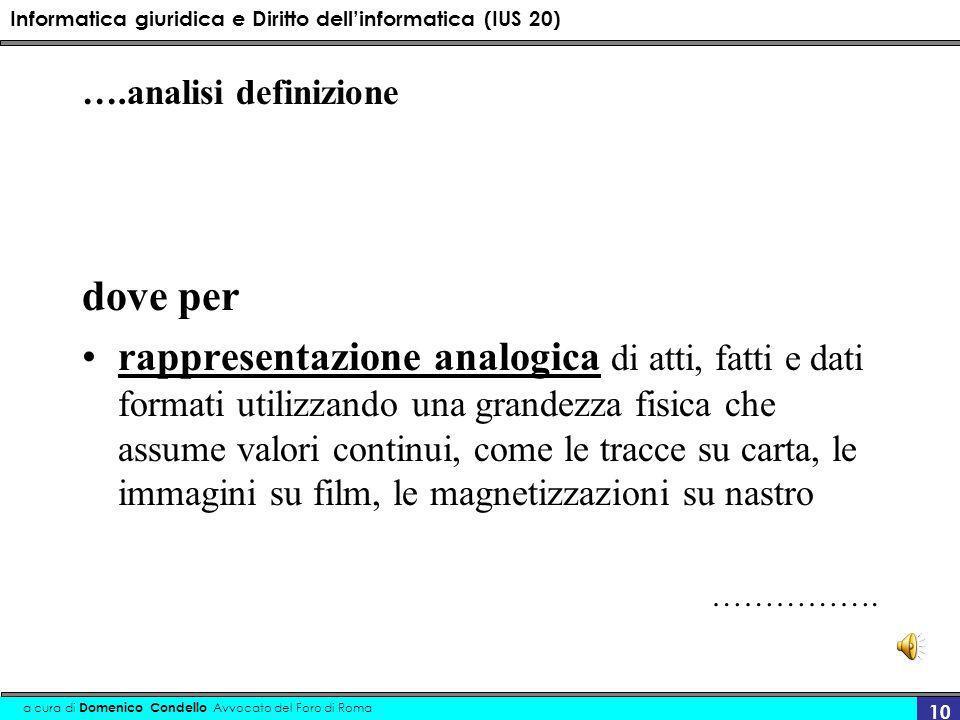 Informatica giuridica e Diritto dellinformatica (IUS 20) a cura di Domenico Condello Avvocato del Foro di Roma 10 ….analisi definizione dove per rappr