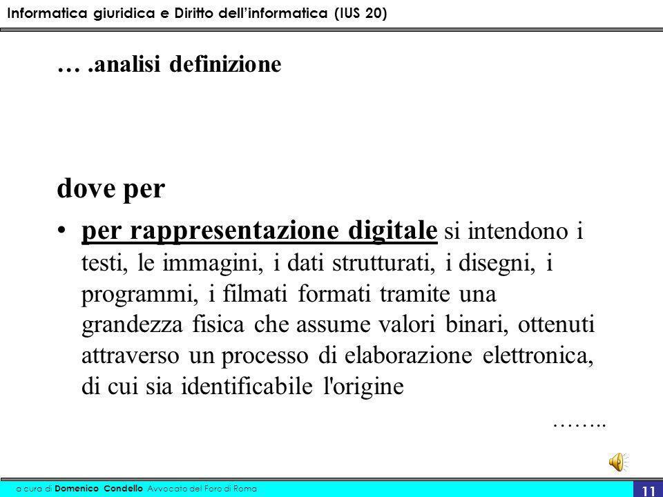 Informatica giuridica e Diritto dellinformatica (IUS 20) a cura di Domenico Condello Avvocato del Foro di Roma 11 ….analisi definizione dove per per r