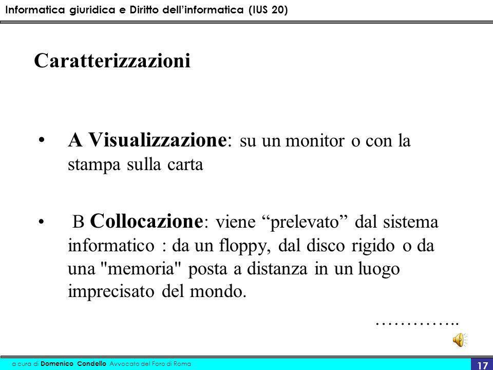 Informatica giuridica e Diritto dellinformatica (IUS 20) a cura di Domenico Condello Avvocato del Foro di Roma 17 Caratterizzazioni A Visualizzazione: