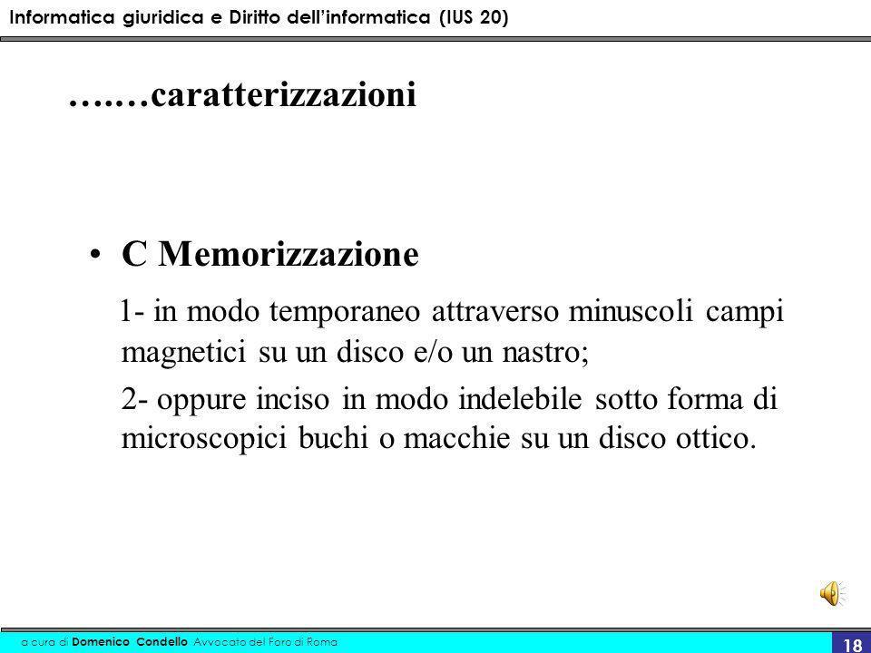 Informatica giuridica e Diritto dellinformatica (IUS 20) a cura di Domenico Condello Avvocato del Foro di Roma 18 ….…caratterizzazioni C Memorizzazion