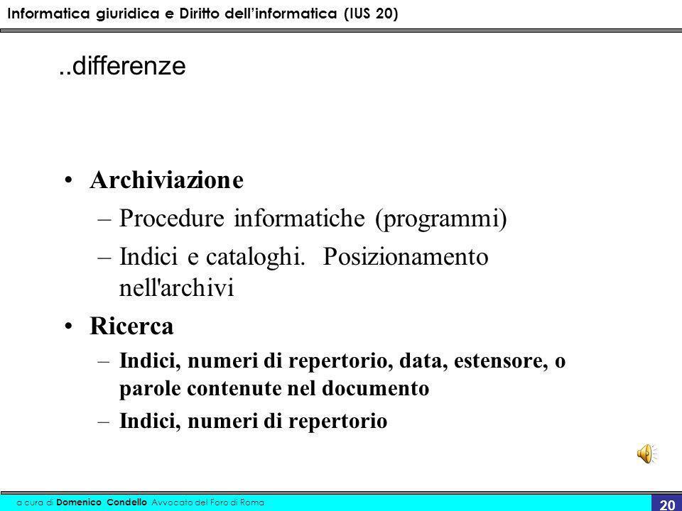 Informatica giuridica e Diritto dellinformatica (IUS 20) a cura di Domenico Condello Avvocato del Foro di Roma 20 Archiviazione –Procedure informatiche (programmi) –Indici e cataloghi.