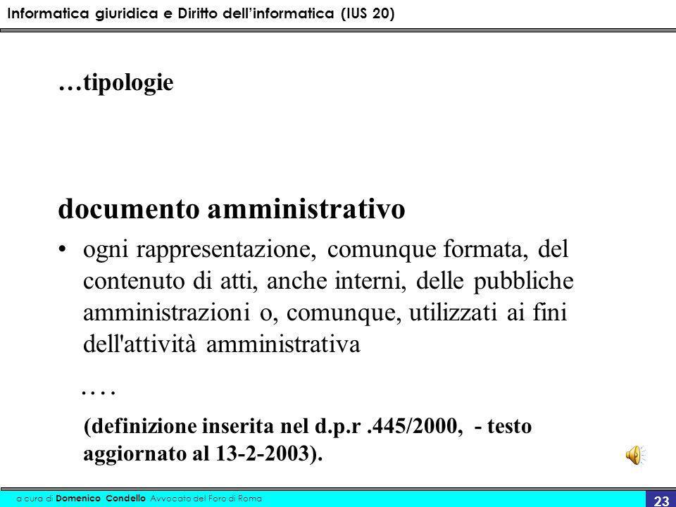 Informatica giuridica e Diritto dellinformatica (IUS 20) a cura di Domenico Condello Avvocato del Foro di Roma 23 …tipologie documento amministrativo