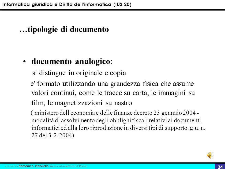 Informatica giuridica e Diritto dellinformatica (IUS 20) a cura di Domenico Condello Avvocato del Foro di Roma 24 …tipologie di documento documento an