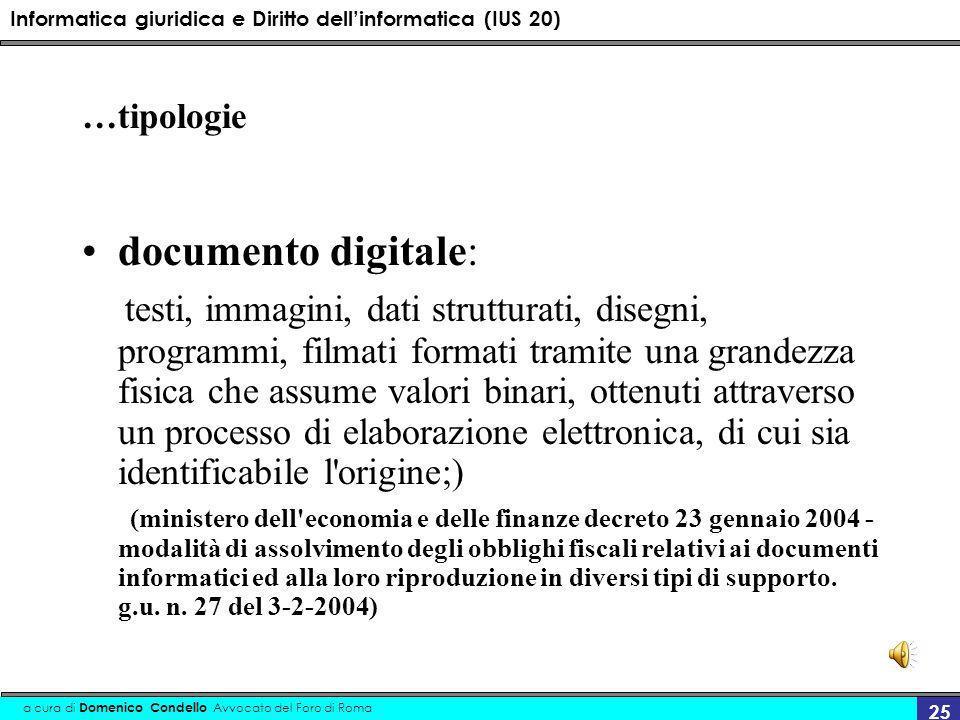 Informatica giuridica e Diritto dellinformatica (IUS 20) a cura di Domenico Condello Avvocato del Foro di Roma 25 …tipologie documento digitale: testi