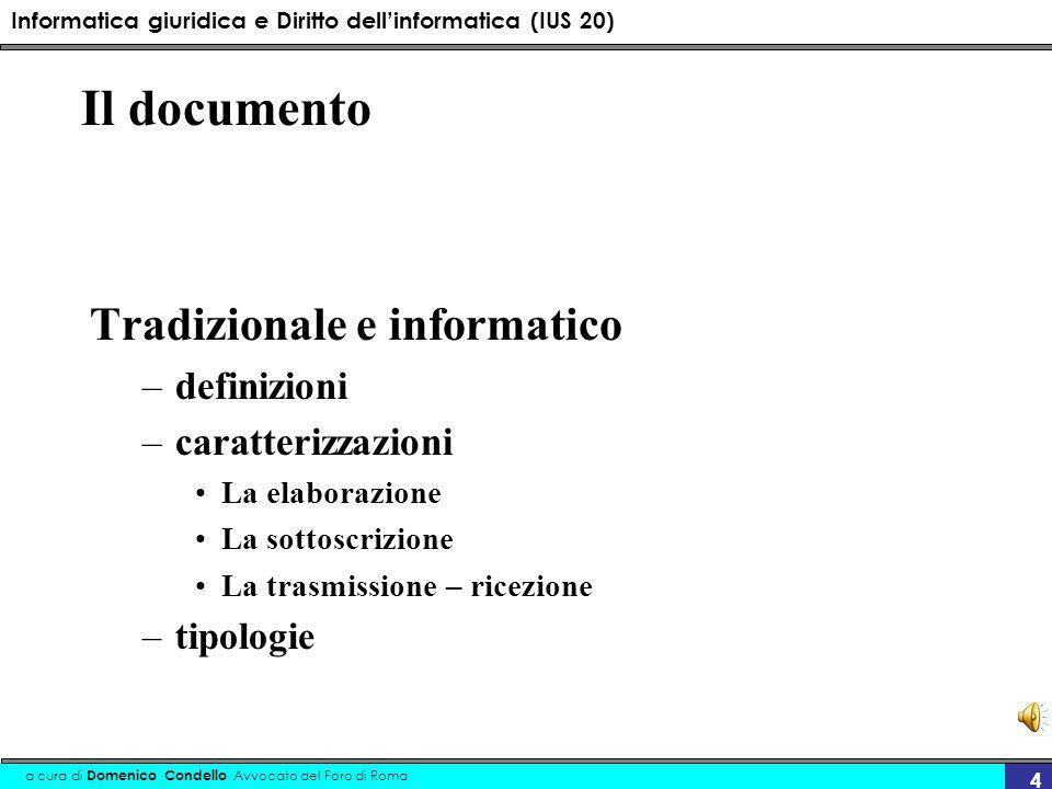 Informatica giuridica e Diritto dellinformatica (IUS 20) a cura di Domenico Condello Avvocato del Foro di Roma 4 Il documento Tradizionale e informati