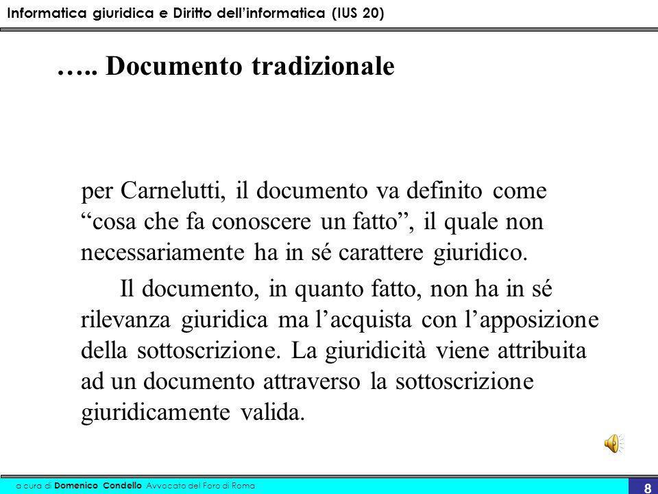 Informatica giuridica e Diritto dellinformatica (IUS 20) a cura di Domenico Condello Avvocato del Foro di Roma 8 ….. Documento tradizionale per Carnel