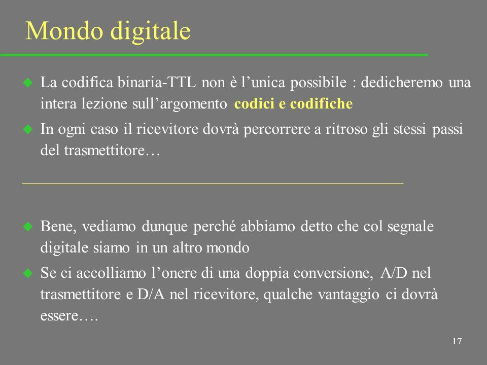 16 Segnale analogico - Segnale digitale D/A A/D f 1 f 2 t 1 0 1 1 0 1 0 0 0 0 1 1 0 tbtb Va