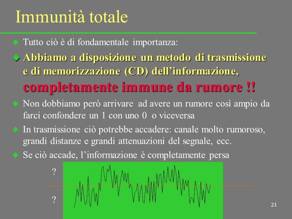 20 Immunità al rumore u È intuitivo che una tal lettura (digitale) sarà molto più veloce e sicura di quella analogica u Ma cè di più: u Mentre in analogico leventuale rumore aggiunto dal canale veniva letto inevitabilmente assieme al segnale, u In digitale, il rumore, se non raggiunge una ampiezza pari alla metà della distanza fra i due livelli, non ha alcun effetto, non altera la lettura 1010