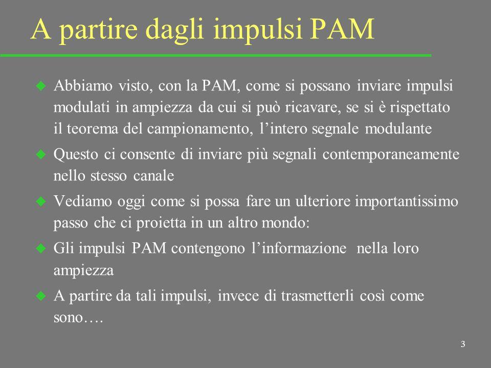 3 A partire dagli impulsi PAM u Abbiamo visto, con la PAM, come si possano inviare impulsi modulati in ampiezza da cui si può ricavare, se si è rispettato il teorema del campionamento, lintero segnale modulante u Questo ci consente di inviare più segnali contemporaneamente nello stesso canale u Vediamo oggi come si possa fare un ulteriore importantissimo passo che ci proietta in un altro mondo: u Gli impulsi PAM contengono linformazione nella loro ampiezza u A partire da tali impulsi, invece di trasmetterli così come sono….