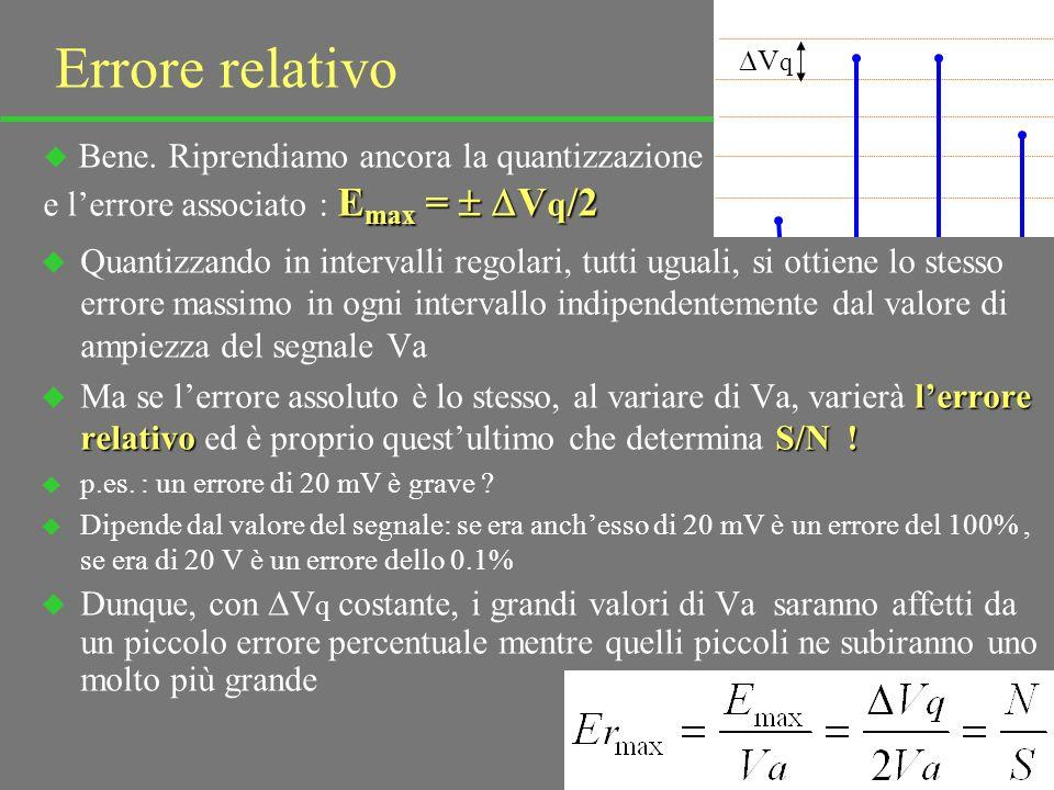 38 S/N non peggiora u Si potrebbe obiettare che un minimo di rumore lo si introduce sempre poiché, per non introdurne, si dovrebbe convertire su un numero di bit infinito u Ciò è vero ma si può rispondere così: u Il segnale analogico, in quanto tale, è già affetto da un certo rumore trascurabile u Allora basterà arrivare ad un numero di bit per cui il rumore introdotto nella quantizzazione è trascurabile rispetto al rumore già presente sul segnale analogico ( non si confondano i due rumori !) u Anzi, non conviene andare oltre: si impiegherebbero bit preziosi per andare a leggere cifre non significative, il rumore sul segnale u Riepilogando: tutto il processo di conversione e trasmissione digitale, se ben fatto, non peggiora S/N del segnale informativo