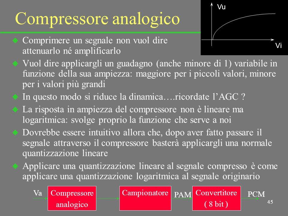 44 Compressione u La quantizzazione logaritmica si può ottenere in due modi: analogico e digitale u - Analogicamente si può far passare il segnale Va in un compressore (amplificatore logaritmico) e applicare una quantizzazione lineare al segnale di uscita u - In digitale si può convertire su un numero di bit superiore a quello finale ; si inizia poi dalla parte bassa della scala, prima formando i nuovi livelli 1 a 1, poi raggruppando (comprimendo) sempre più livelli in uno solo (per ridurre i bit a quelli voluti) resta scontato che il ricevitore, per riavere il giusto segnale, deve operare esattamente in senso contrario u Vediamo meglio i due sistemi; resta scontato che il ricevitore, per riavere il giusto segnale, deve operare esattamente in senso contrario (un po come per lenfasi e la deenfasi: sono solo operazioni per ottimizzare la trasmissione)