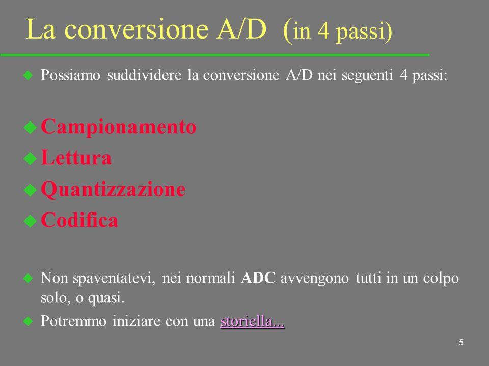5 La conversione A/D ( in 4 passi) u Possiamo suddividere la conversione A/D nei seguenti 4 passi: u Campionamento u Lettura u Quantizzazione u Codifica u Non spaventatevi, nei normali ADC avvengono tutti in un colpo solo, o quasi.