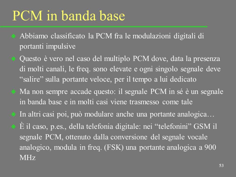 52 Sincronismo u In questo tipo di trasmissione (trasmissione dati), ancor più che per la PAM, il sincronismo è essenziale u Trasmettitore e ricevitor