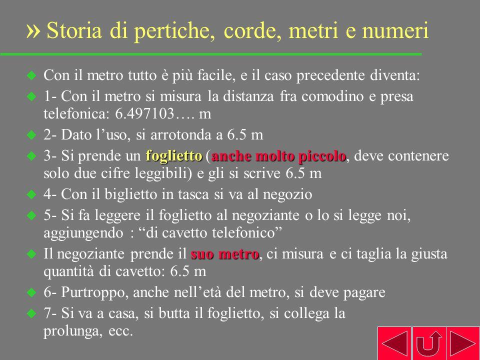 9 u Con il metro tutto è più facile, e il caso precedente diventa: u 1- Con il metro si misura la distanza fra comodino e presa telefonica: 6.497103….
