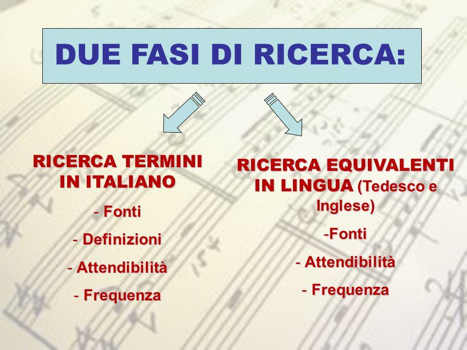 DUE FASI DI RICERCA: RICERCA TERMINI IN ITALIANO - Fonti - Definizioni - Attendibilità - Frequenza RICERCA EQUIVALENTI IN LINGUA (Tedesco e Inglese) -