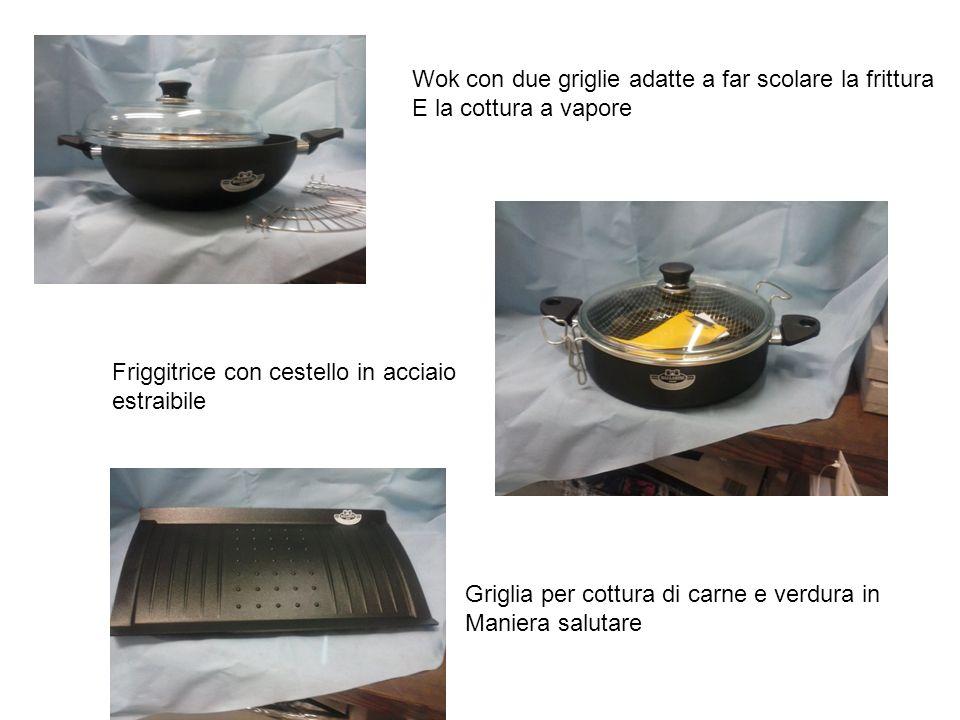 Wok con due griglie adatte a far scolare la frittura E la cottura a vapore Friggitrice con cestello in acciaio estraibile Griglia per cottura di carne