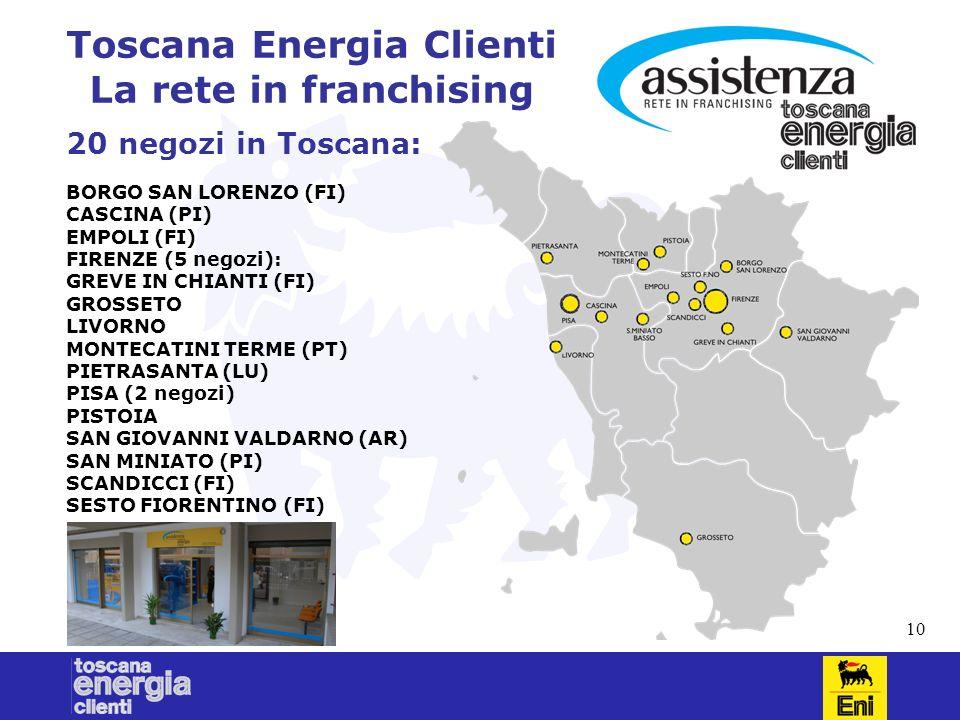 10 Toscana Energia Clienti La rete in franchising 20 negozi in Toscana: BORGO SAN LORENZO (FI) CASCINA (PI) EMPOLI (FI) FIRENZE (5 negozi): GREVE IN CHIANTI (FI) GROSSETO LIVORNO MONTECATINI TERME (PT) PIETRASANTA (LU) PISA (2 negozi) PISTOIA SAN GIOVANNI VALDARNO (AR) SAN MINIATO (PI) SCANDICCI (FI) SESTO FIORENTINO (FI)