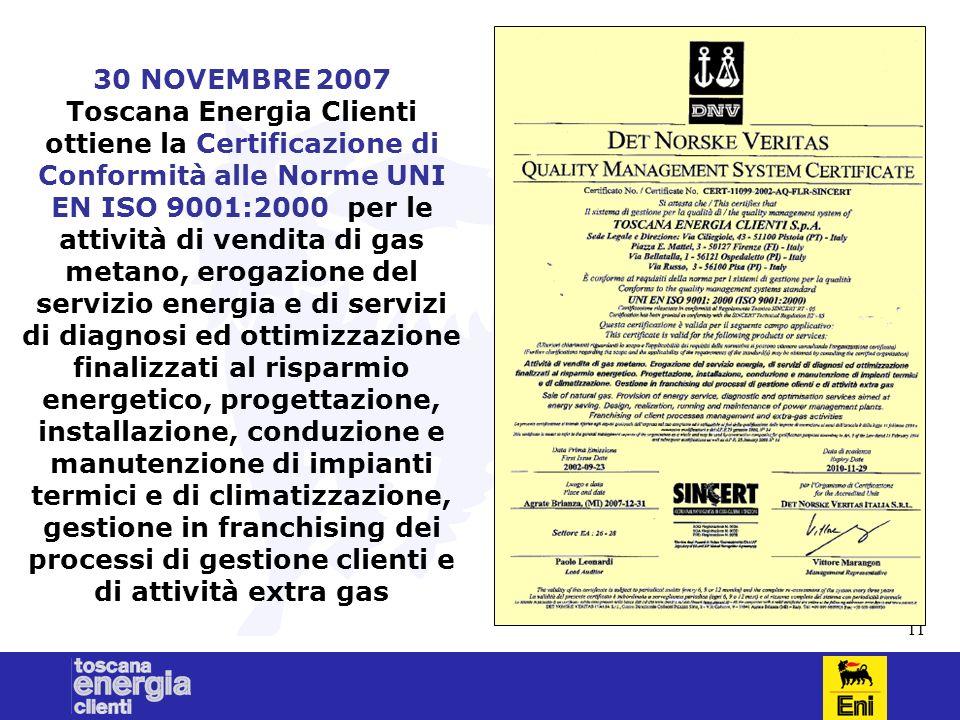 11 30 NOVEMBRE 2007 Toscana Energia Clienti ottiene la Certificazione di Conformità alle Norme UNI EN ISO 9001:2000 per le attività di vendita di gas metano, erogazione del servizio energia e di servizi di diagnosi ed ottimizzazione finalizzati al risparmio energetico, progettazione, installazione, conduzione e manutenzione di impianti termici e di climatizzazione, gestione in franchising dei processi di gestione clienti e di attività extra gas
