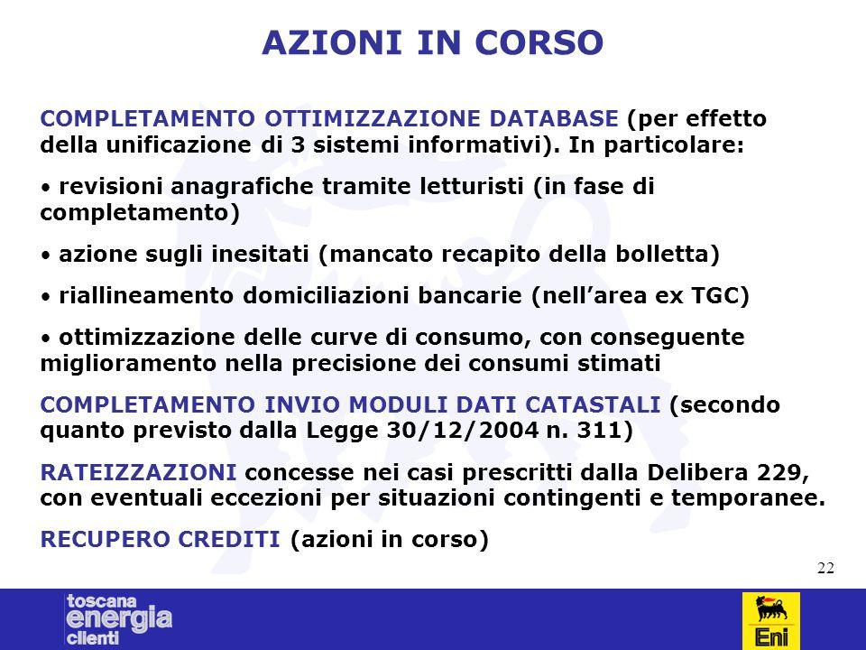 22 AZIONI IN CORSO COMPLETAMENTO OTTIMIZZAZIONE DATABASE (per effetto della unificazione di 3 sistemi informativi).