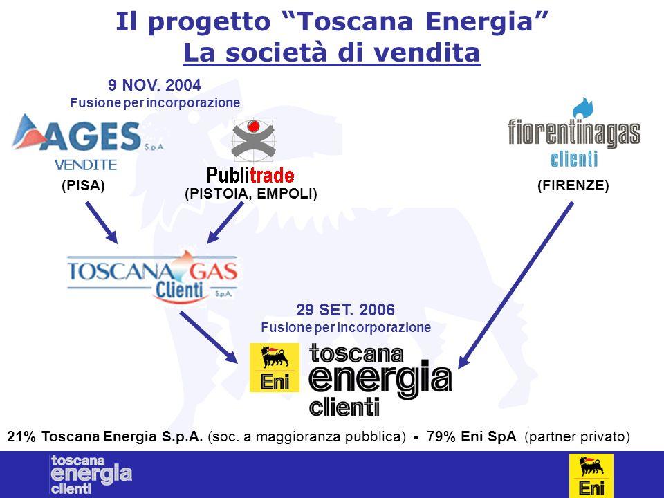 4 Il progetto Toscana Energia La società di vendita (PISA) (PISTOIA, EMPOLI) (FIRENZE) 9 NOV. 2004 Fusione per incorporazione 29 SET. 2006 Fusione per