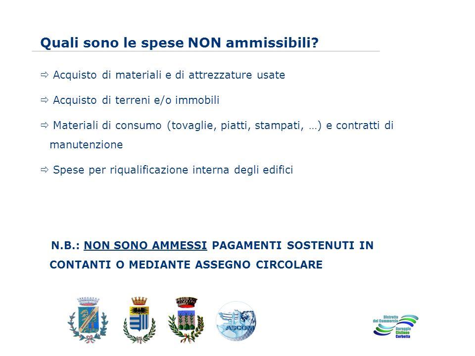 www.eurca.com Quali sono le spese NON ammissibili.