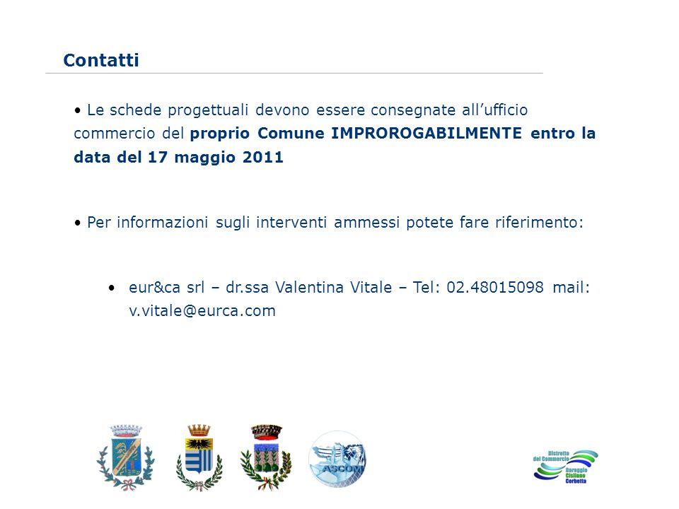 www.eurca.com Contatti Le schede progettuali devono essere consegnate allufficio commercio del proprio Comune IMPROROGABILMENTE entro la data del 17 m