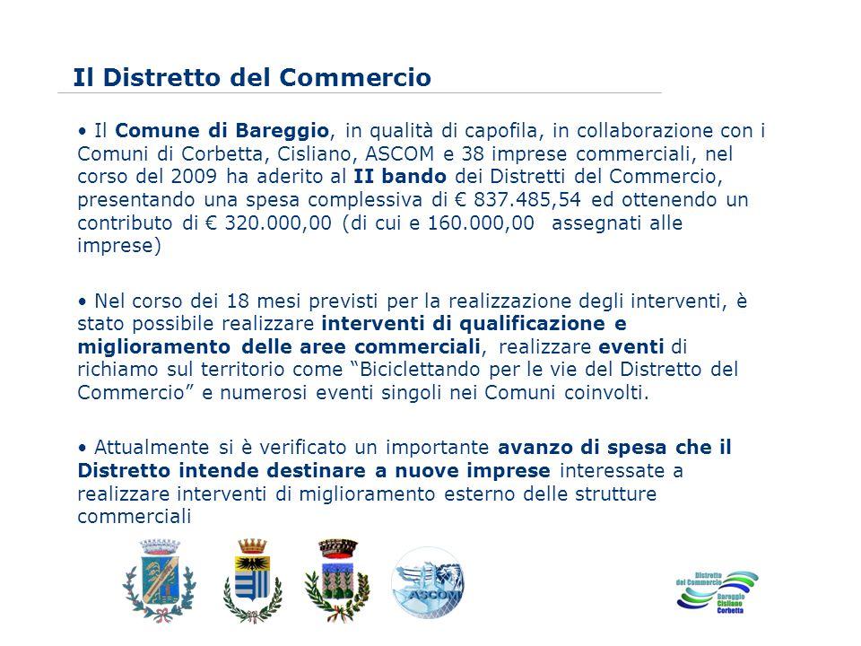 www.eurca.com Il Distretto del Commercio Il Comune di Bareggio, in qualità di capofila, in collaborazione con i Comuni di Corbetta, Cisliano, ASCOM e 38 imprese commerciali, nel corso del 2009 ha aderito al II bando dei Distretti del Commercio, presentando una spesa complessiva di 837.485,54 ed ottenendo un contributo di 320.000,00 (di cui e 160.000,00 assegnati alle imprese) Nel corso dei 18 mesi previsti per la realizzazione degli interventi, è stato possibile realizzare interventi di qualificazione e miglioramento delle aree commerciali, realizzare eventi di richiamo sul territorio come Biciclettando per le vie del Distretto del Commercio e numerosi eventi singoli nei Comuni coinvolti.