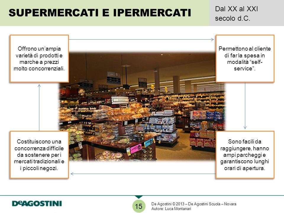 SUPERMERCATI E IPERMERCATI Dal XX al XXI secolo d.C. 15 Offrono unampia varietà di prodotti e marche a prezzi molto concorrenziali. Permettono al clie