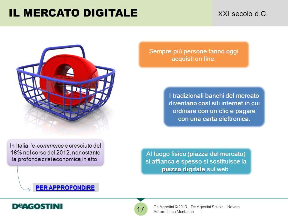 piazza digitale Al luogo fisico (piazza del mercato) si affianca e spesso si sostituisce la piazza digitale sul web. IL MERCATO DIGITALE XXI secolo d.