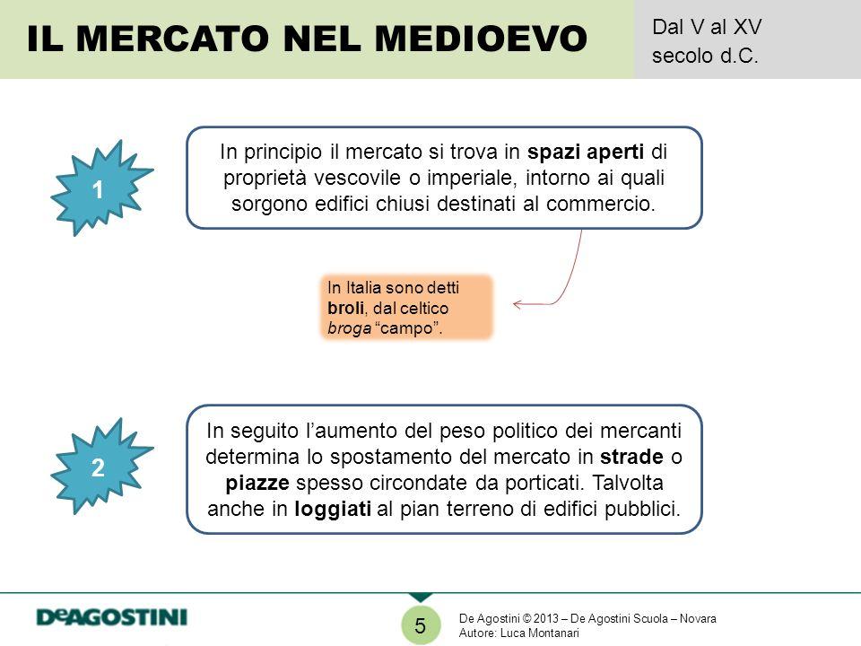 5 IL MERCATO NEL MEDIOEVO Dal V al XV secolo d.C. 1 2 In seguito laumento del peso politico dei mercanti determina lo spostamento del mercato in strad