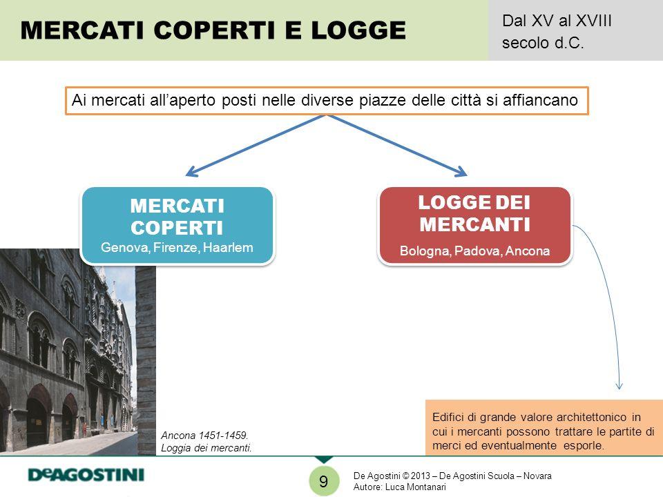 Edifici di grande valore architettonico in cui i mercanti possono trattare le partite di merci ed eventualmente esporle. 9 MERCATI COPERTI E LOGGE Dal