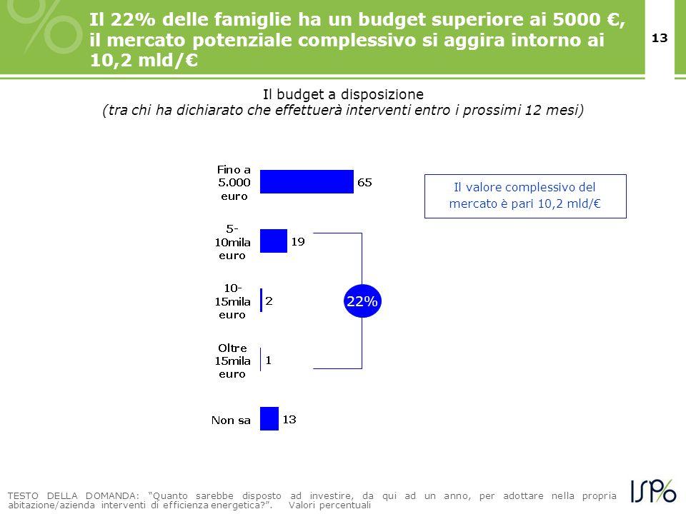 13 Il 22% delle famiglie ha un budget superiore ai 5000, il mercato potenziale complessivo si aggira intorno ai 10,2 mld/ TESTO DELLA DOMANDA: Quanto