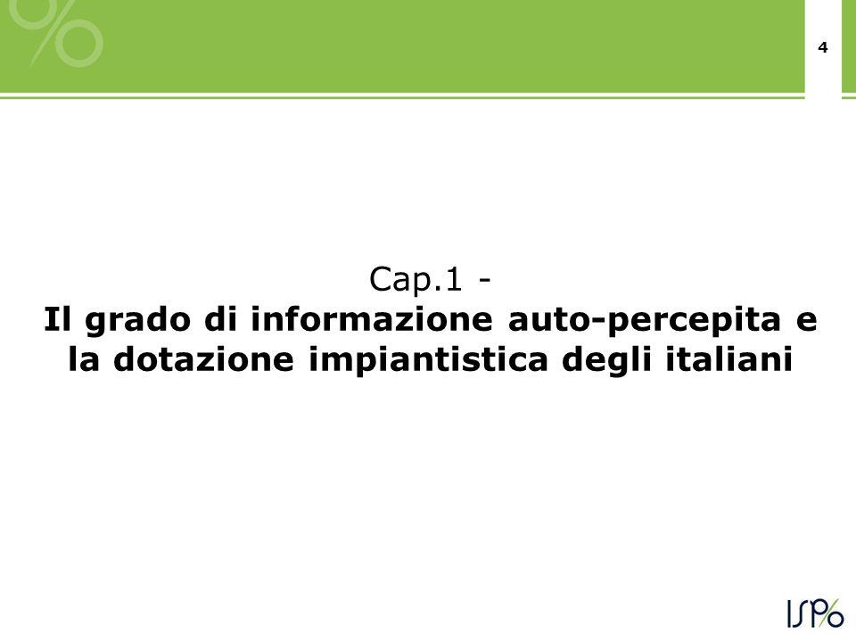 4 Cap.1 - Il grado di informazione auto-percepita e la dotazione impiantistica degli italiani