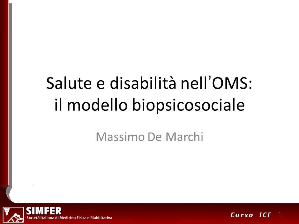 1 Corso ICF Salute e disabilità nellOMS: il modello biopsicosociale Massimo De Marchi 1