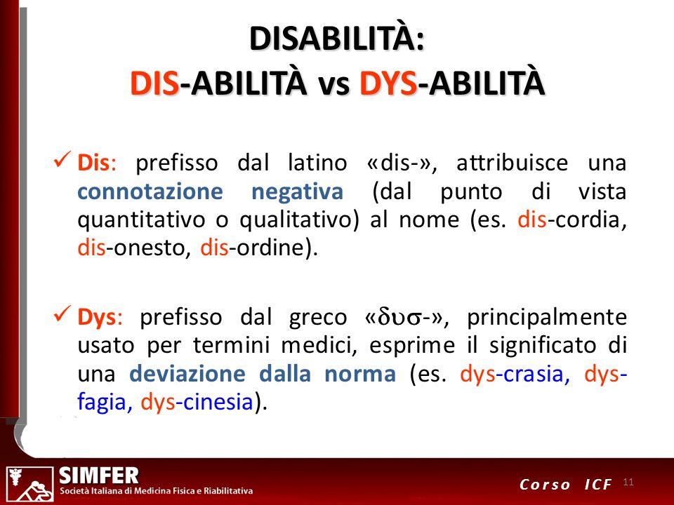 11 Corso ICF DISABILITÀ: DIS-ABILITÀ vs DYS-ABILITÀ Dis: prefisso dal latino «dis-», attribuisce una connotazione negativa (dal punto di vista quantit