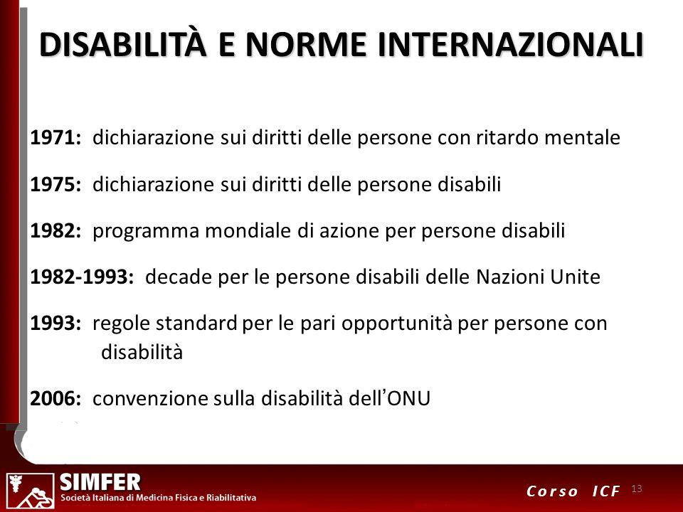 13 Corso ICF DISABILITÀ E NORME INTERNAZIONALI 1971: dichiarazione sui diritti delle persone con ritardo mentale 1975: dichiarazione sui diritti delle