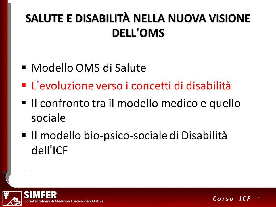 8 Corso ICF SALUTE E DISABILITÀ NELLA NUOVA VISIONE DELLOMS Modello OMS di Salute Levoluzione verso i concetti di disabilità Il confronto tra il model