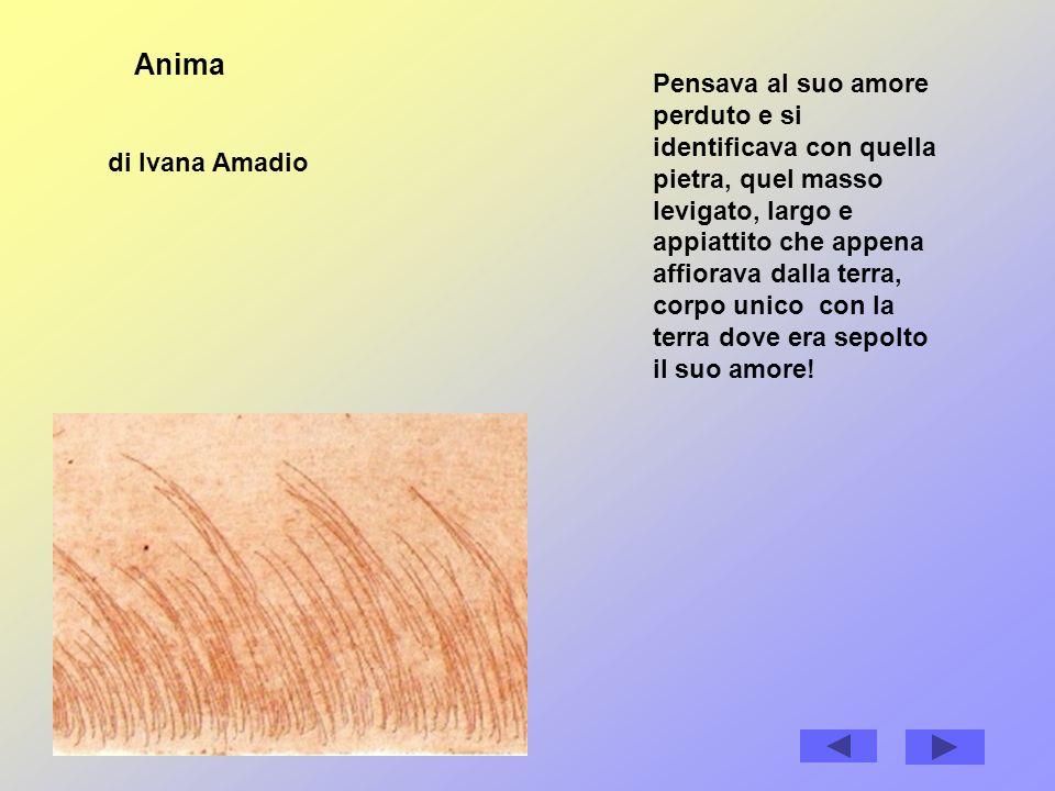 Anima di Ivana Amadio Pensava al suo amore perduto e si identificava con quella pietra, quel masso levigato, largo e appiattito che appena affiorava dalla terra, corpo unico con la terra dove era sepolto il suo amore!