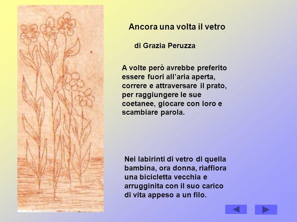 Ancora una volta il vetro di Grazia Peruzza A volte però avrebbe preferito essere fuori allaria aperta, correre e attraversare il prato, per raggiungere le sue coetanee, giocare con loro e scambiare parola.
