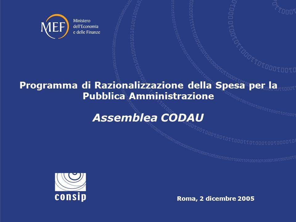 Assemblea CODAU Roma, 2 dicembre 2005 Programma di Razionalizzazione della Spesa per la Pubblica Amministrazione