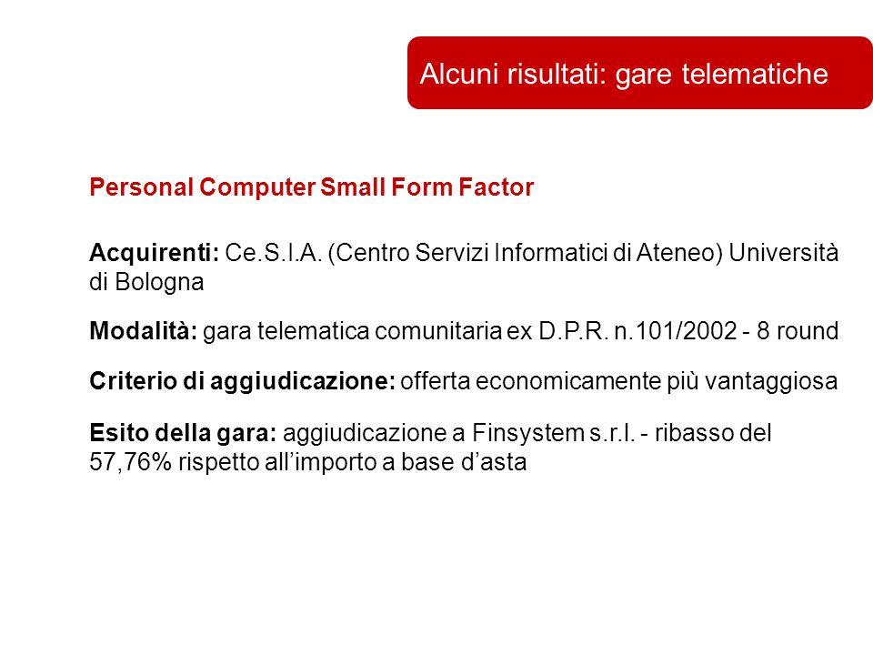 Università di Bologna Alcuni risultati: gare telematiche Personal Computer Small Form Factor Acquirenti: Ce.S.I.A.