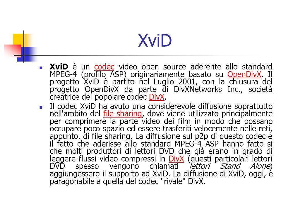 XviD XviD è un codec video open source aderente allo standard MPEG-4 (profilo ASP) originariamente basato su OpenDivX. Il progetto XviD è partito nel