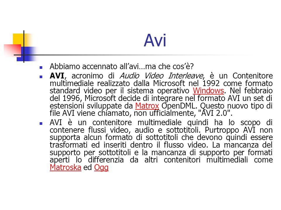 Avi Abbiamo accennato allavi…ma che cosè? AVI, acronimo di Audio Video Interleave, è un Contenitore multimediale realizzato dalla Microsoft nel 1992 c