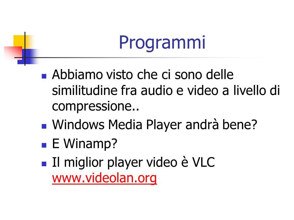 Programmi Abbiamo visto che ci sono delle similitudine fra audio e video a livello di compressione.. Windows Media Player andrà bene? E Winamp? Il mig
