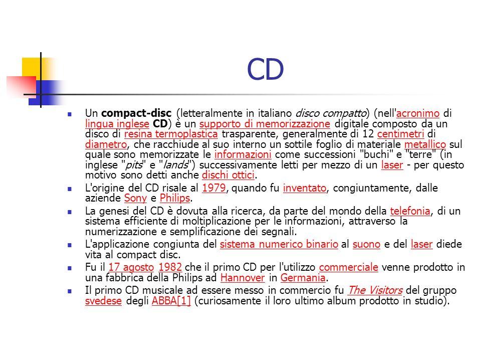 CD Un compact-disc (letteralmente in italiano disco compatto) (nell'acronimo di lingua inglese CD) è un supporto di memorizzazione digitale composto d