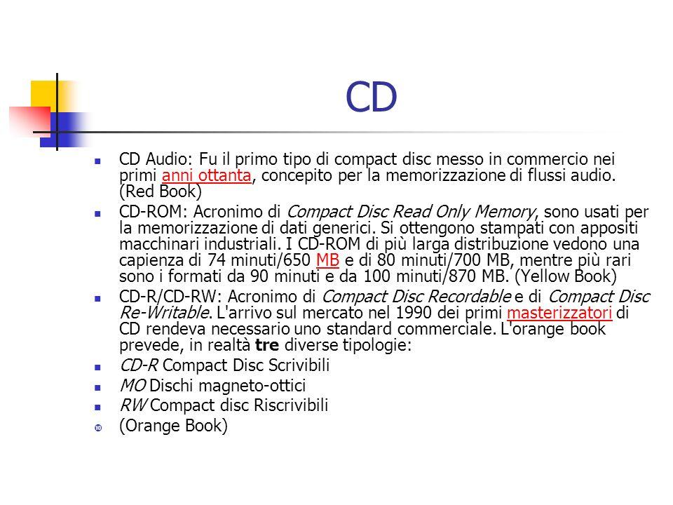 CD CD Audio: Fu il primo tipo di compact disc messo in commercio nei primi anni ottanta, concepito per la memorizzazione di flussi audio.